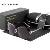 HDCRAFTER Fashion Luxury Ladies Designer Vintage Cat Eye Sun Glasses Polarized Driving Sunglasses Oculos Masculino For