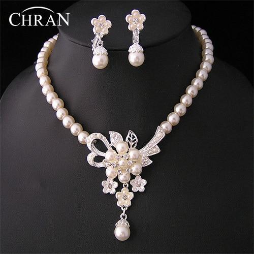 CHRAN Flower Design Rhodium Plated Imitation Pearl Bridal Wedding Jewelry Sets Wholesale Costume Crystal Jewelry Accessories