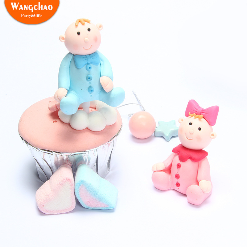 Baby Shower Oh Baby Polymer Clay Dolls Cake Topper Child Boy Girl Cartoon Happy Birthday Cake Topper Rabbit Party Supplies in Cake Decorating Supplies from Home Garden