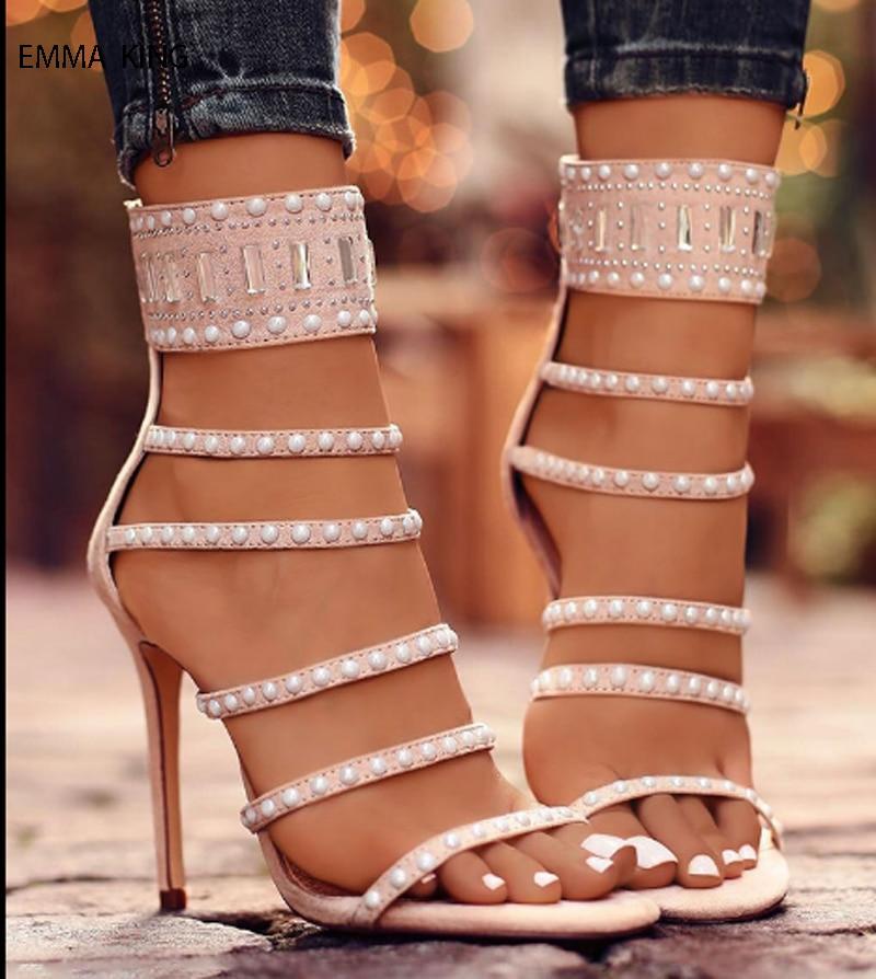 Bandes Mode Mujer Belle Talons Hauts Chaussures Femmes naked Étape De Mariage Sandalias Femme Perle Pink Strass Sandales Mince Party Été Black gtdvPwqxg