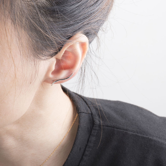 Alta Argento Sterling Lucido Spazzata Dell'orecchio Dell'involucro Crawler Orecchini Del Polsino Minimal Fuoco Foglia Scalatore Orecchino Gioielli Donna Brincos ZK30