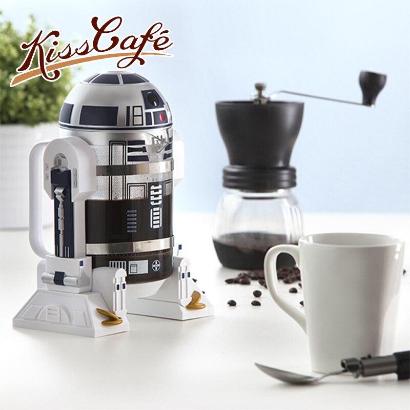 960 ملليلتر حرب النجوم روبوت الإبداعية الصحافة الفرنسية المنزل 28*19.5*21 سنتيمتر البسيطة الصحافة الفرنسية وعاء إسبرسو أسود القهوة اليد إبريق قهوة-في أواني القهوة من المنزل والحديقة على  مجموعة 1