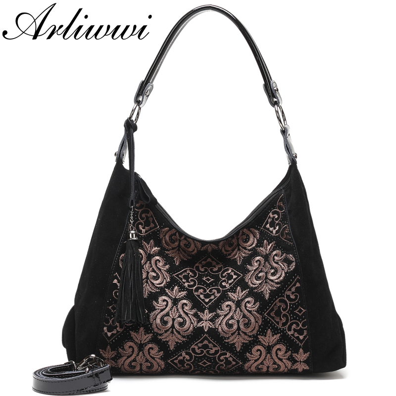Arliwwi 100 Real Leather Women Vintage Embroidery Soft Hobos Bags Genuine Suede Leather Black big black