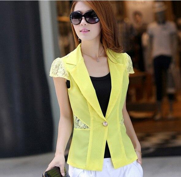 6a3716353b Slim Lace stitching Jaqueta Women Blazers Jackets 2015 Short sleeve Thin  section Blazer Feminino Casual Cheap Female Blazers