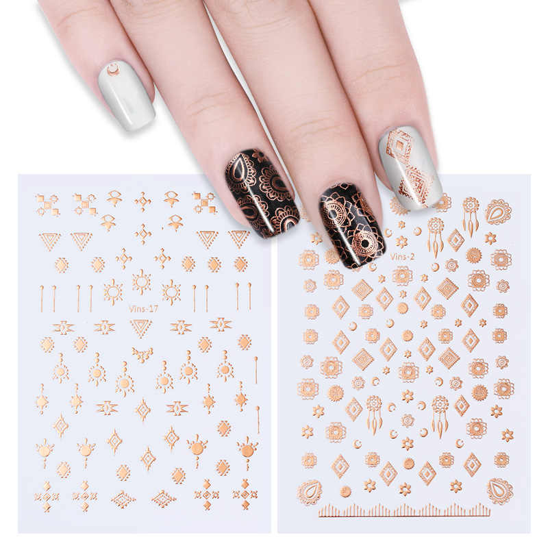 1 простыни металлической розово-Золотое конфетти золото 3D-Наклейки для ногтей Племенной перо Маникюр Клей для накладных ногтей передачи DIY стикеры бумага