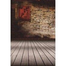 Laeacco Grunge Brick Wall Planks Floor Baby Children Portrait Scenic Photographic Backgrounds Photography Photo Backdrops Studio