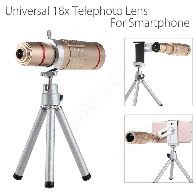 Blueskysea 18x Zoom Optical Telescope Camera Photo Lens W/ Tripod Holder Fr ios and Android Gold
