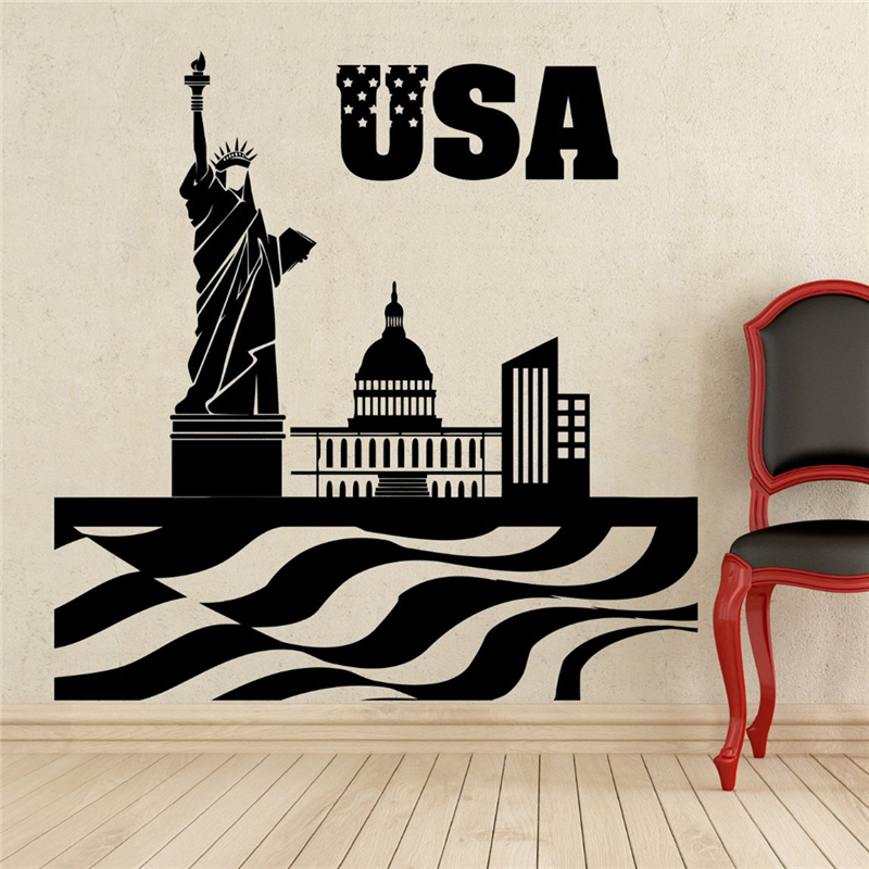 Statue Of Liberty Wall Decal USA Flag Vinyl Sticker Wall Decor Removable  Waterproof Decal Wall Stickers