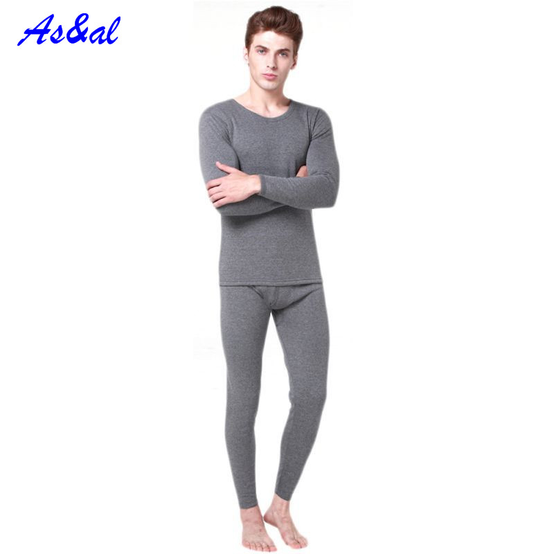 Men 2Pcs Cotton Thermal Underwear Set Winter Warm Thicken Long Johns Tops Bottom 3 Colors A8