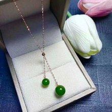 SHILOVEM 18k YELLOW gold Natural green Jasper pendants  classic fine Jewelry women wedding new plant mymz668812by