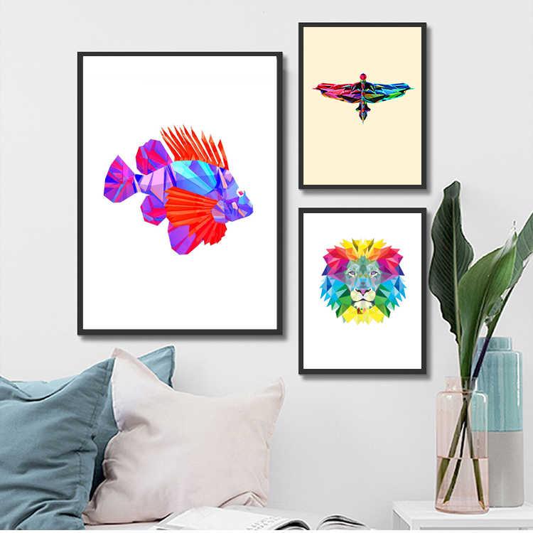Скандинавские Красочные абстрактные Геометрические Животные носороги головы холст картина плакат печать комнаты Декор стены картина поп искусство