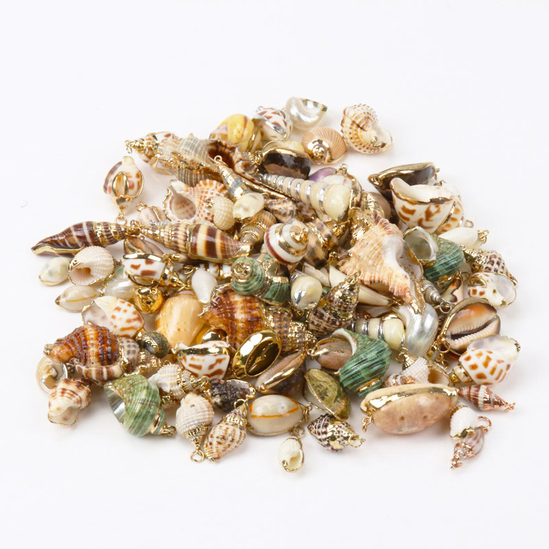 Charms Pendants Spiral Jewelry-Making Sea-Shell Gold Natural Handmade for DIY KL264 title=