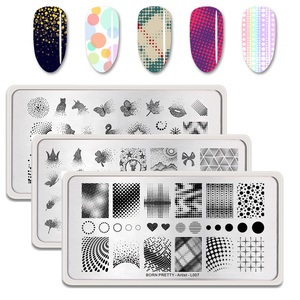 Image 1 - BORN PRETTY Nail Stamping Plates Maple Leaf  Design Stainless Steel Rectangle Nail Stamp Stencils Pattern