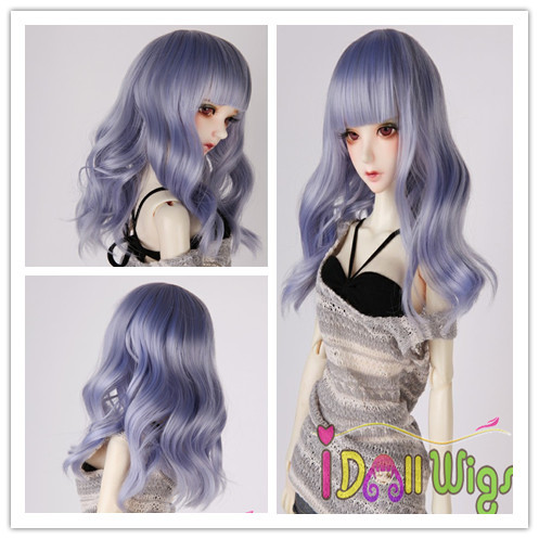 цена на Free Shipping Good quality heat resistant synthetic beautiful ombre light blue Long loose wavy hair 1/3 1/4 1/6 BJD doll wigs