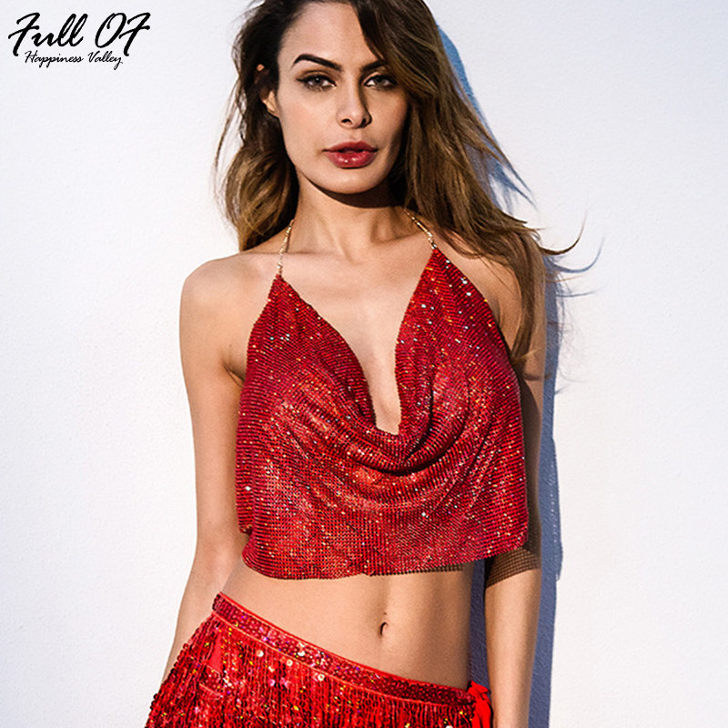ba52396b1b9 2018 Sexy Women Metal Chain Camis Tank Crop Tops Crystal Mesh Diamond Vest  Womens Shiny Sequins