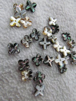free ship 100pcs 8 10 12mm Genuine MOP Shell ,Pearl Shell filigree florial flower Clove Carved yellow white black mixed beads
