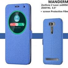 Мода Бесплатный флип стекла крышка для ASUS Zenfone 2 Лазерная ze600kl ZE601KL случае стенд кожаный держатель мобильного 6.0 «телефон оболочки случаи