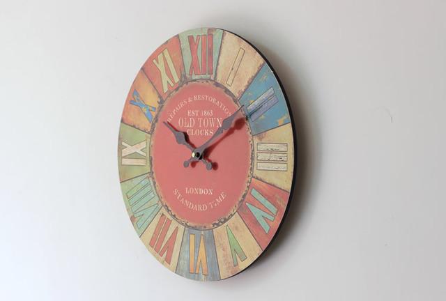 35CM Zakka Roman Style Coloured drawing Digital wall Clock Vintage Circular Large decorative wall Clocks Home Dcor Gifts