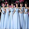 Halter Neck Pleated Long Chiffon Bridesmaid Dress Sky Blue Mint Green 2017 Floor Length Wedding Party Dress