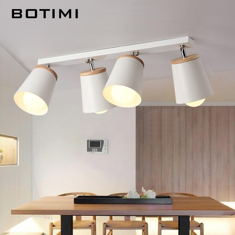 Modernās baltās griestu lampas BOTIMI koridoram regulējama metāla Lamparas de techo koridors E27 Iekštelpu koka apgaismes ķermeņi