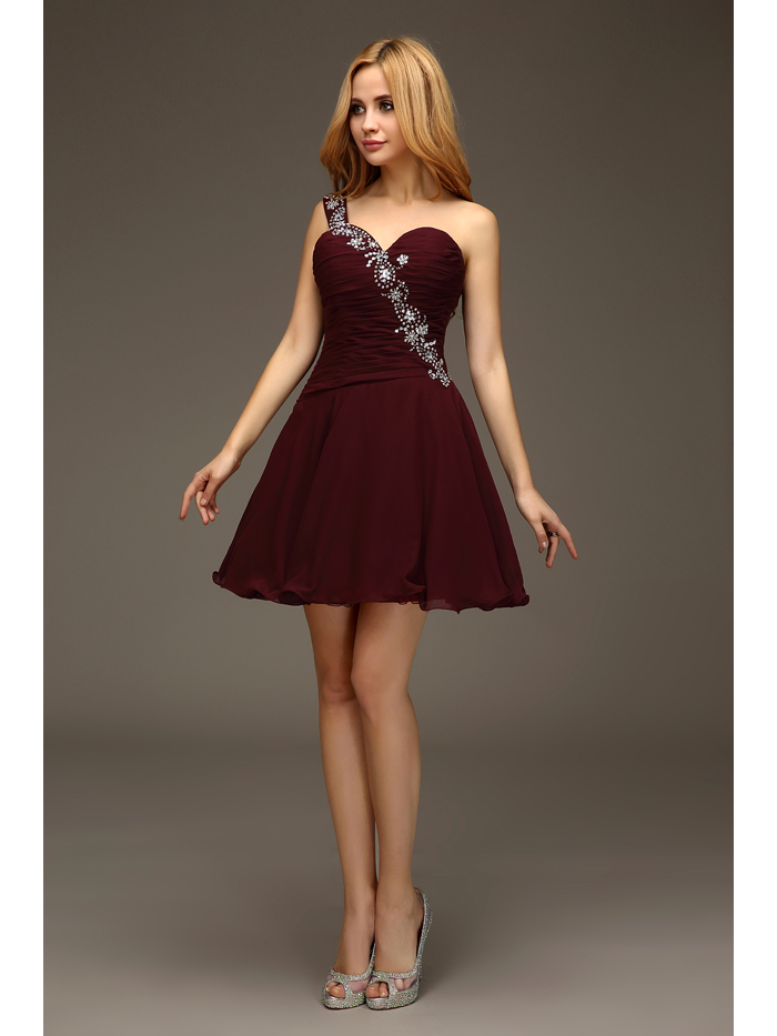 Maroon Cocktail Dresses - Prom Dresses With Pockets
