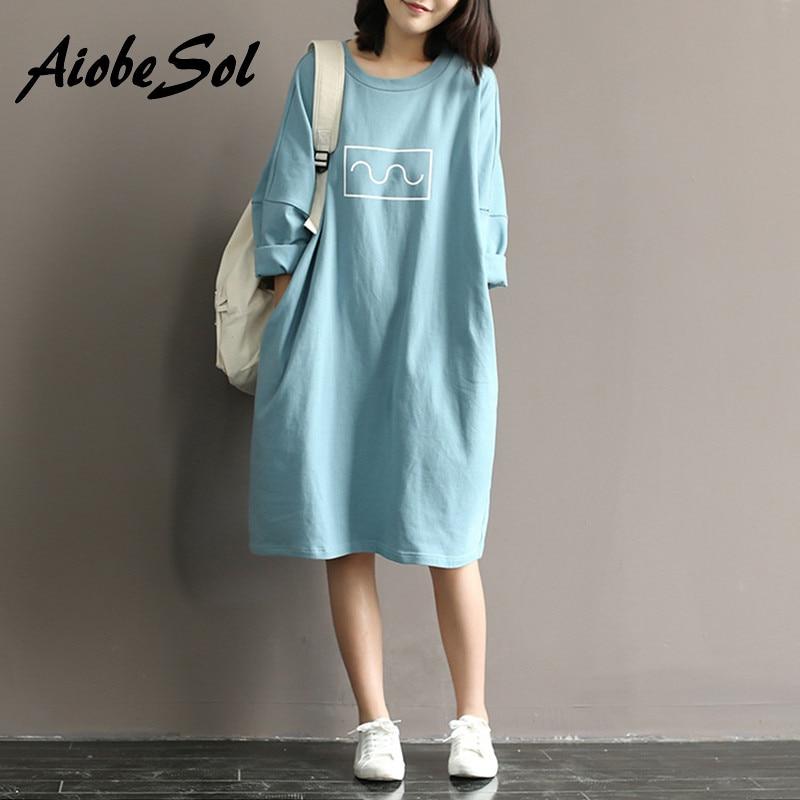 Summer 2016 Women Cotton T-shirt Dress Mori Girl Style Loose Round Neck  Batwing Sleeve Midi Long Dress Robe Femme Vestidos