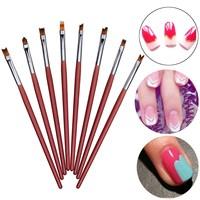 8pcs Wooden Nail Art Pen Brushes Soft Fiber Hair UV Gel Polish Drawing Lining Painting French