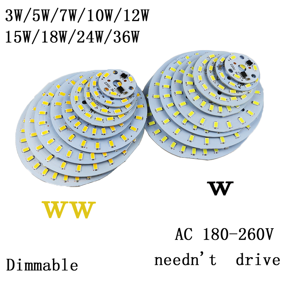 10pcs 220v led plate Source 3W 5W 7W 10w 12W 15W 18W 24w 36w integrated IC driver 5730 SMD Cold White/ Warm White aluminum pcb 50w led pcb with smd5730 integrated ic driver aluminum plate free shipping