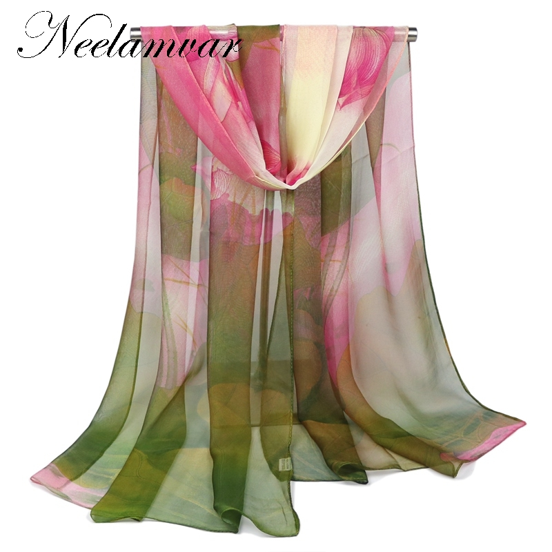2017 silk scarf lotuses print shawl hijab wrap women female winter spring summer Beach Cover-ups shawls from india