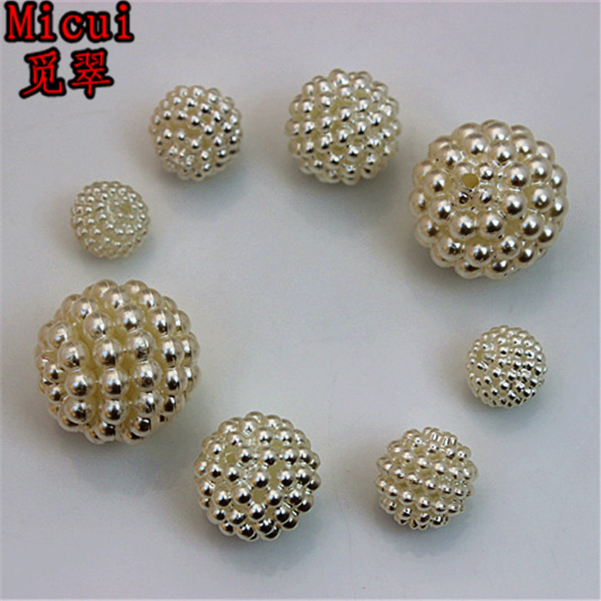 Micui 10/11/12/15/20mm Round beads ABS imitation pearls mounted removable type for clothing package shoe Crafts DIY ZZ176