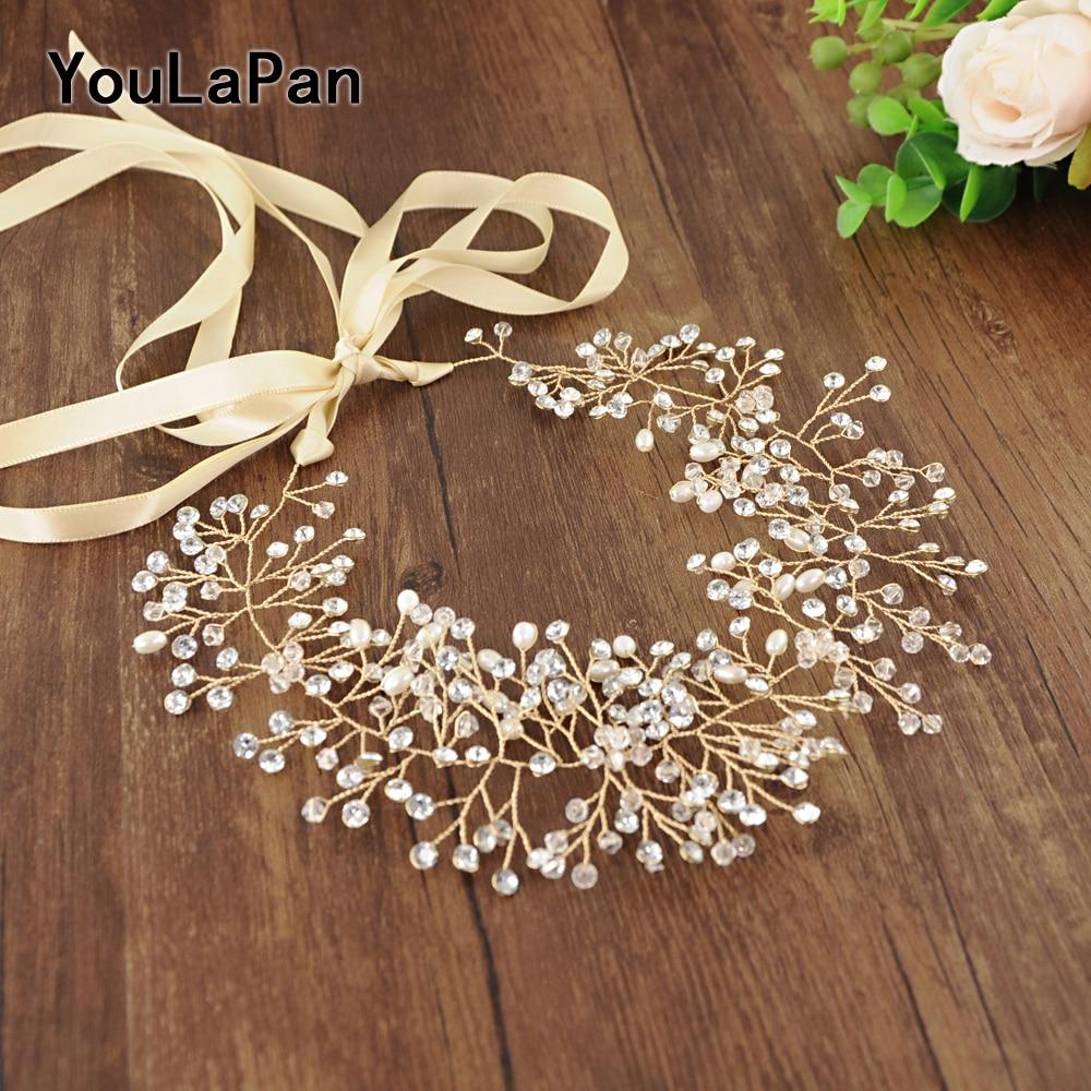 YouLaPan SH10-G Wedding Belts with Pearls Wedding Sash Thin Belts Handmade Beadings Wedding Accessories Golden Bridal Sash