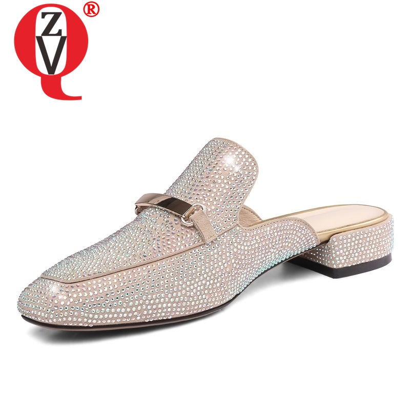 ZVQ shoes women summer new concise square toe kid suede low square heels crystal women slippers