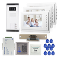 "FREE SHIPPING 7"" Video Intercom Apartment Door Phone + 3 White Monitors 700TVL Outdoor Camera for 3 Family + RFID Access System"