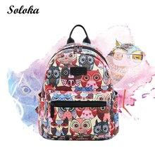 7e916bcd9c Canvas Backpack Students School Bag for Teenage Girls Boys Backpacks Street Graffiti  Bags Cartoon Owl Printing