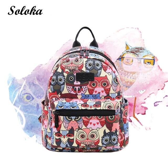 Canvas Backpack Students School Bag for Teenage Girls Boys Backpacks Street  Graffiti Bags Cartoon Owl Printing Rucksack Cool 45e0e3b3e3220
