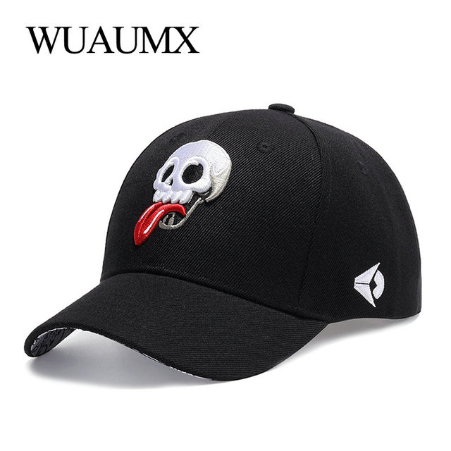 d919d0971c583 US $6.53 49% OFF|Wuaumx Summer Men's Baseball Cap Personalized Skull dad  Hat Sunscreen Women's Snapback Couple Cap Embroidery tongue Adjustable-in  ...