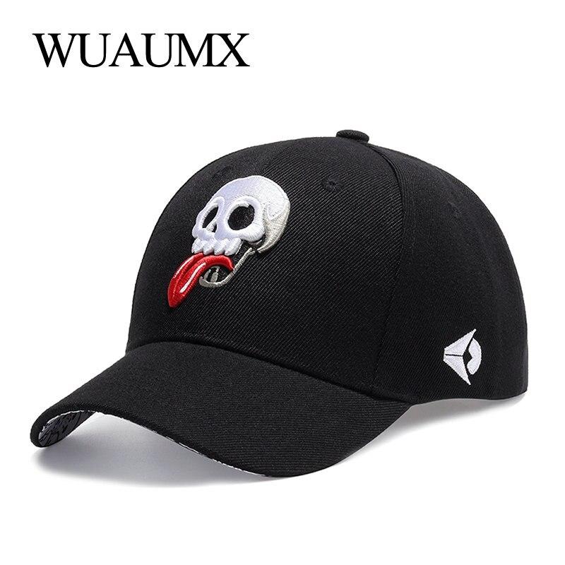 Wuaumx verano gorra de béisbol de los hombres cráneo personalizado papá sombrero protector solar de las mujeres Snapback Cap pareja bordado lengua ajustable