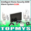 Home Security Alarm Large Smart Phone Wireless Wired Burglar GSM Home Security Alarm System with PIR Door Sensor Siren G1BK