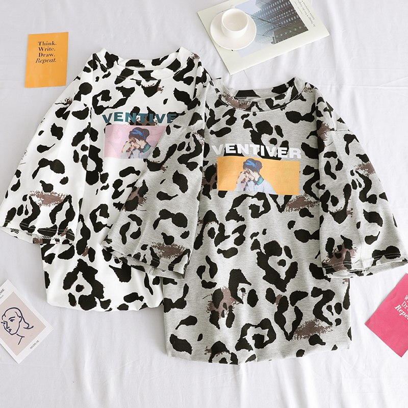Women Summer Tee Harajuku Funny Dairy Cattle Cow Leopard Print Vintage Tshirt Short Sleeve Zaraing Graphic Shirt Streetwear Top