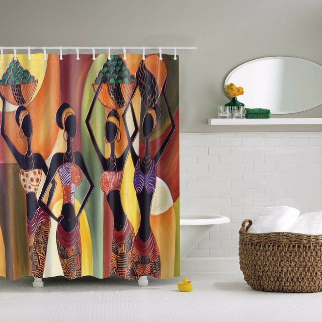 Svetanya African Style Print Shower Curtains Bath Products Bathroom Decor With Hooks Waterproof 71x71 59x71