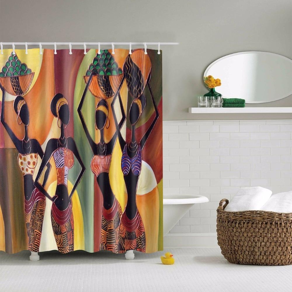African Bathroom Decor - Svetanya african style print shower curtains bath products bathroom decor with hooks waterproof 71x71 59x71