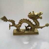 Metal Craft Long: 13 inch/34CM Home Decor Feng Shui Brass Dragon Statue /Metal Home Decoration Crafts Big Dragon Sculptures