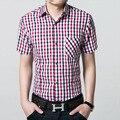 Красный И Черный Плед Рубашку Мужчины Рубашки 2017 Лето Сорочка Homme Мужские Клетчатые Рубашки С Коротким Рукавом Офис Формальный Бизнес-Рубашка