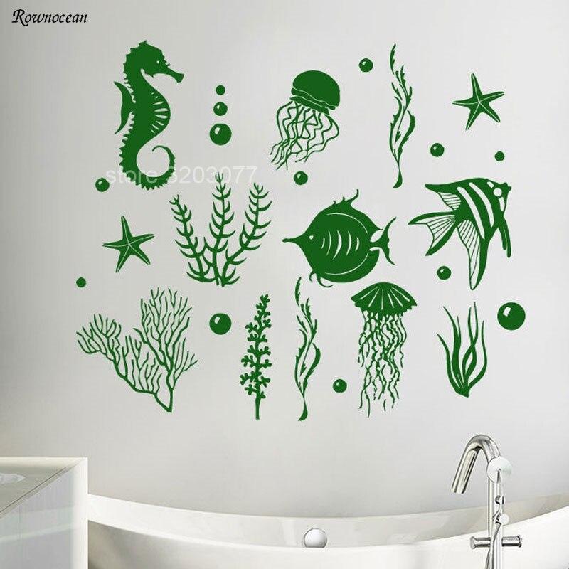 The Underwater World Marine Life Wall Decals Ocean Sea Seaweed Animal Wall Sticker Vinyl Bathroom Washroom Tile Decor Mural B-08