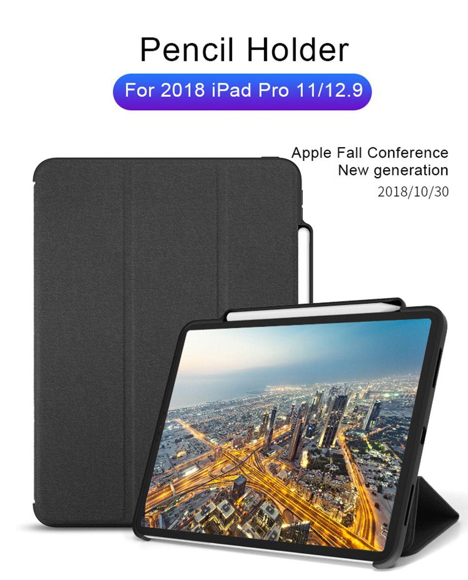 ea9b721e202 For iPad Pro 12.9 2018 Case Pencil Holder Cloth Leather Microfiber Inner  Smart Cover For iPad Pro 12.9 A1876 A2014 A1895 A1983