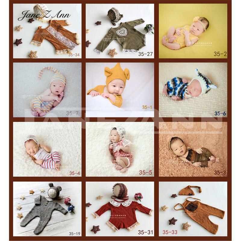 Jane Z Ann Neugeborenen Baby Fotografie Requisiten Häkeln Stirnband Hut + Outfit 2 stücke Fotografia Zubehör Studio Schießt Foto Prop