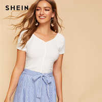 SHEIN Casual White Buttoned Front Rib-knit Slim Fitted Crop Top T Shirt Women Summer Elegant V Neck Short Sleeve Solid Tshirts