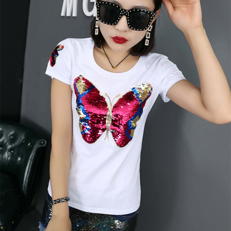 DANCING WINGS Summer Sequins Butterfly Short-sleeved T-shirt Black And White Women's Round Neck Cotton Shirts Plus Size S-3XL