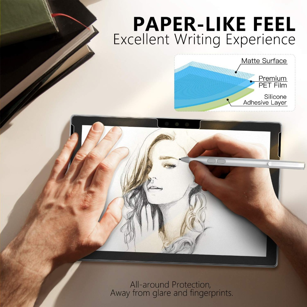 Paper Like Texture Screen Protector For Surface Go Surface Book 1/2 13.5 15 Matte PET Anti-Glare Scratch Resistant Film Paper Like Texture Screen Protector For Surface Go Surface Book 1/2 13.5 15 Matte PET Anti-Glare Scratch Resistant Film
