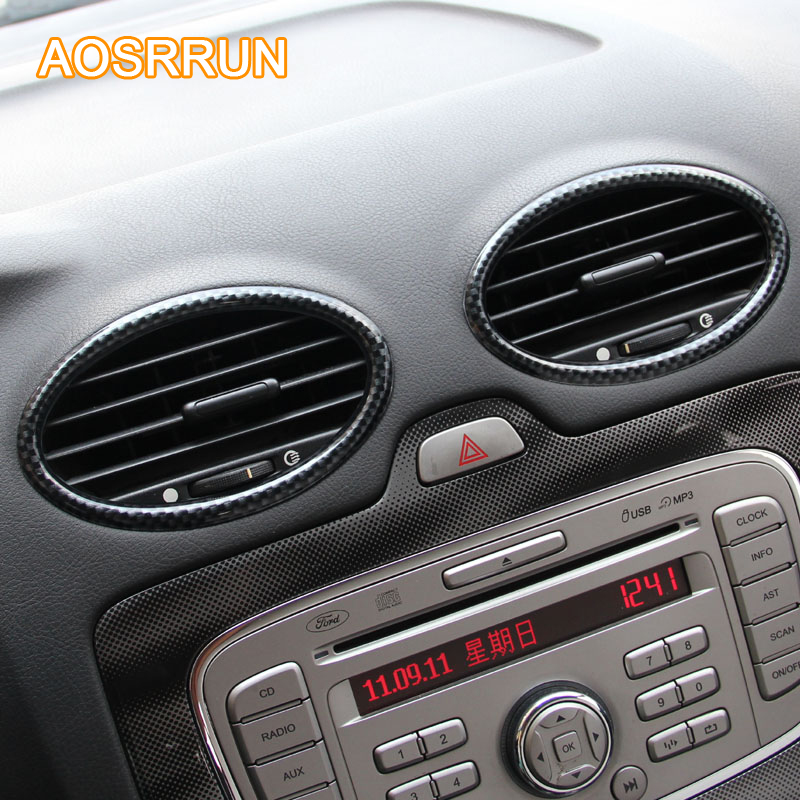AOSRRUN For Ford Focus 2 MK2 2005-2010 Carbon Fiber Style Air-conditioning Outlet Covers Auto Car Accessories Car-Styling